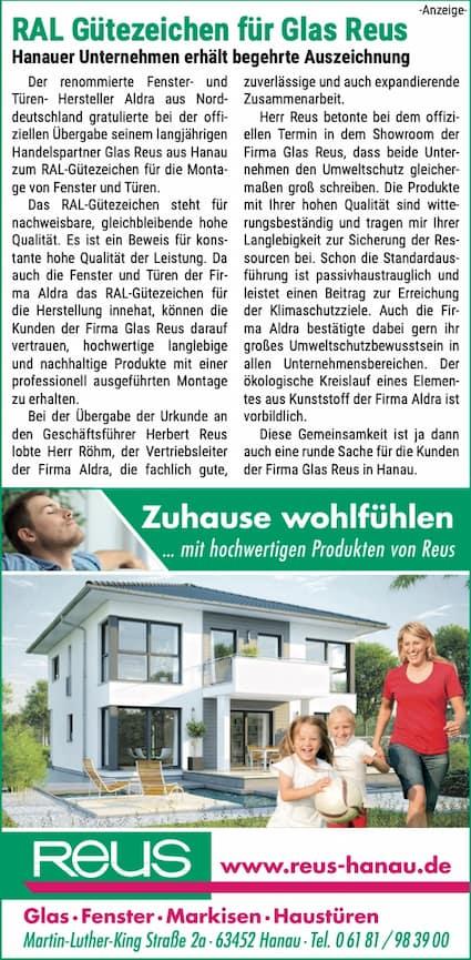 Anzeige-mit-Text-und-Bild-ueber-die-Auszeichnung-fuer-das-Unternehmen-Glas-Reus-aus-Hanau