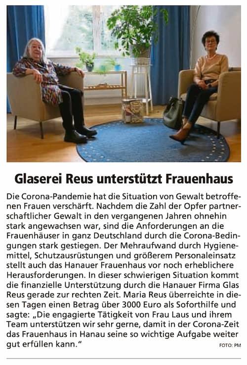 Auszug-aus-einem-Zeitungsartikel-mit-dem-Titel-Glaserei-Reus-unterstuetzt-Frauenhaus